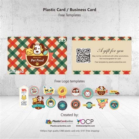 plastic gift card template pet shop gift card plastic card
