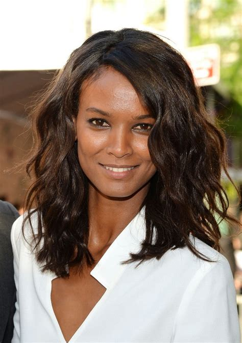 list of celebrities with thick hair celebrity liya kebede medium dark wavy hairstyle for thick