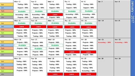 team work schedule template excel team calendar template free plan monthly