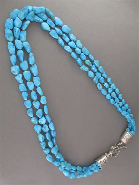 turquoise for jewelry 3 strand sleeping turquoise necklace two grey