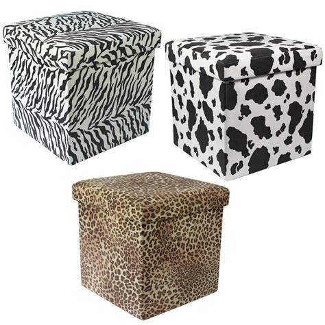 Animal Ottomans Animal Print Folding Storage Pouffe Stool Seat Ottoman Box With Lid