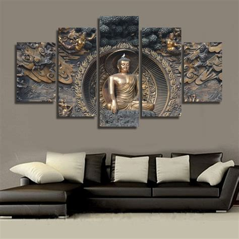 modular painting wall pictures canvas poster frame 5 panel buddha statue buddhism