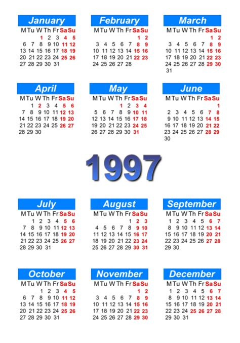 August 1996 Calendar Calendar 1997 To Print And In Pdf Abc Calendar