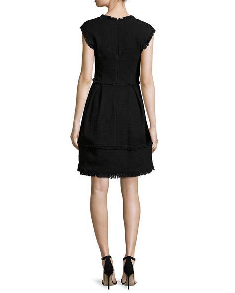 Sleeveless A Line Dress black sleeveless tweed a line dress lyst