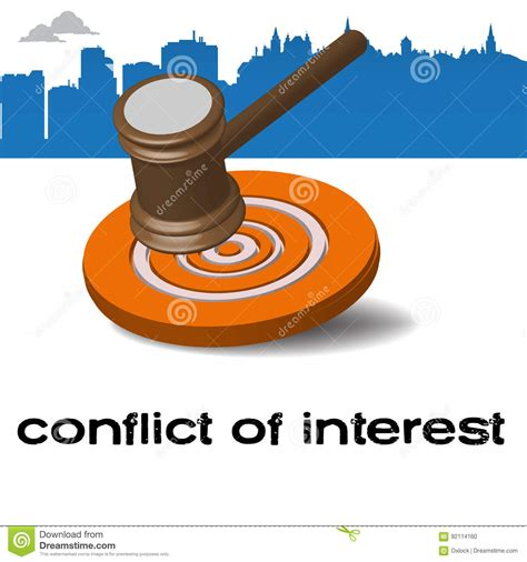 Interest Of Justice conflict of interest stock vector image of choice