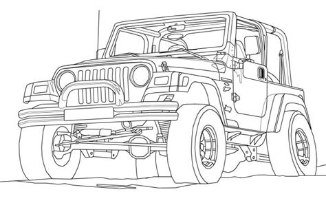 jeep drawing jeep wrangler coloring book page cartoon drawing art