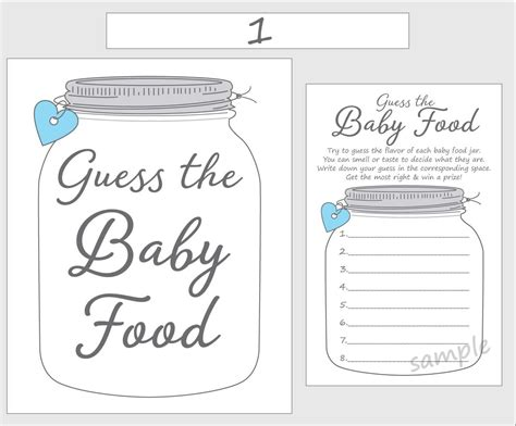 Guess The Baby Food Printable Baby Shower Game Blue Boy Guessing Template