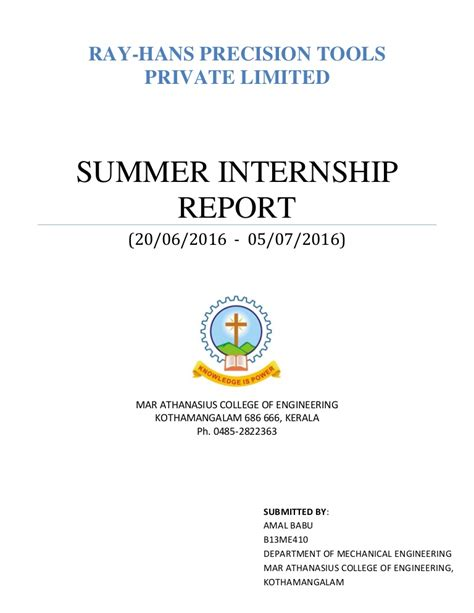 Summer Internship Report Format Mba by Summer Internship Report 2016 Mechanical Engineering