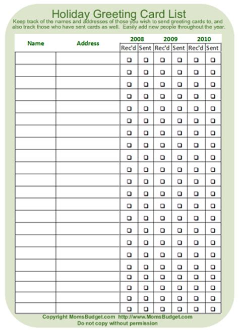 printable birthday card list greeting card list printable worksheet