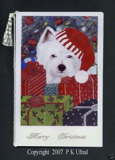 paintink dog artwestie christmas cardsbyp  ufnal ebay