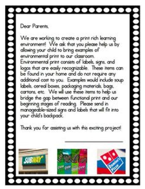 Parent Letter For Imagine Learning 25 Best Ideas About Environmental Print On Kindergarten Literacy Centers Sounds