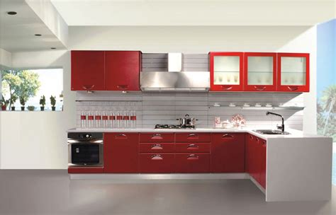 red kitchen fashionable contemporary kitchen design with cool white