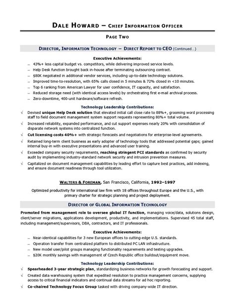 Resume Information Technology Exles by Director Of Information Technology Resume Fiveoutsiders
