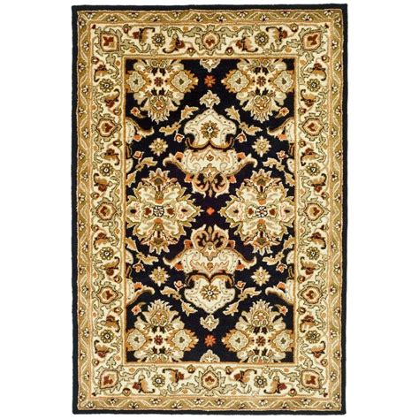 black and ivory rugs safavieh heritage black ivory 4 ft x 6 ft area rug hg817a 4 the home depot