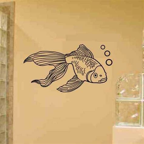 fish wall decor for bathroom gold fish wall decal great bathroom wall decor