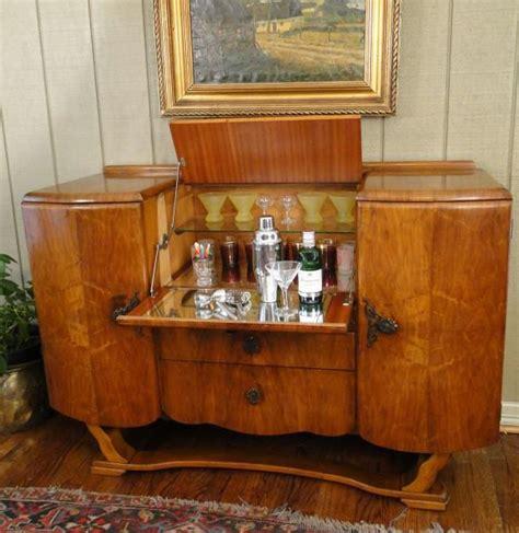 Open Bar Cabinet Antique Pop Open Deco Bar Wine Martini Liquor Cabinet Walnut Dining Room