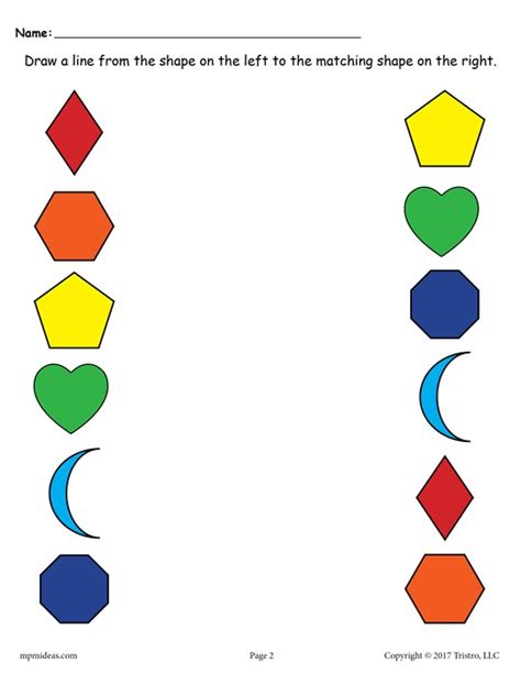 printable shapes colors 6 free shapes matching worksheets for preschool toddlers