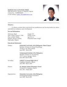 Resume Template College Student Sample Resume Format Philippines Sample Resume
