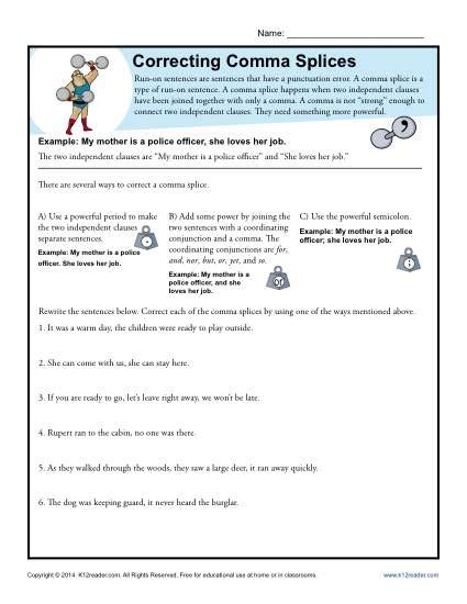 comma splice worksheet correcting comma splices punctuation worksheets