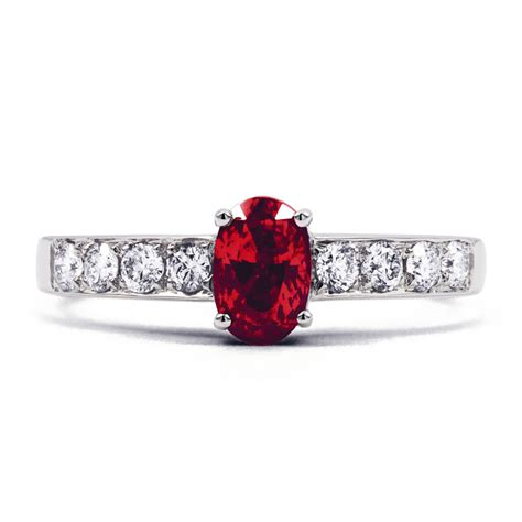 9k white gold ruby and engagement ring h si ebay
