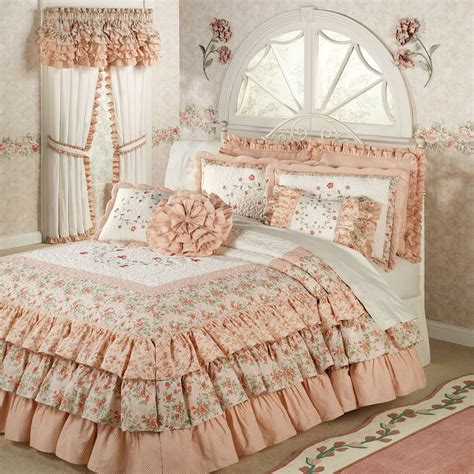 ruffled bed comforters melody floral ruffled grande bedspread bedding