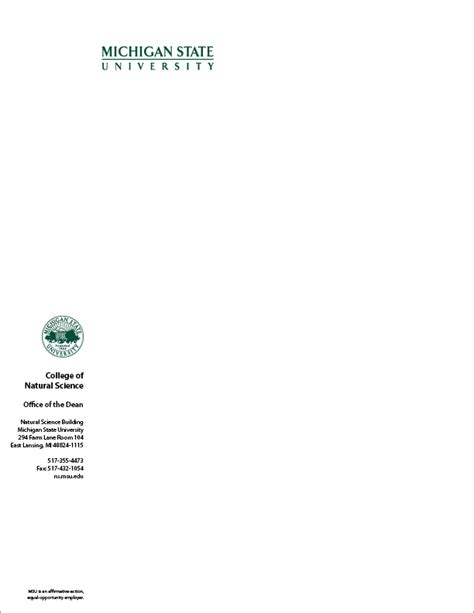 College Letterhead Logos And Stationery The Msu Brand Michigan State