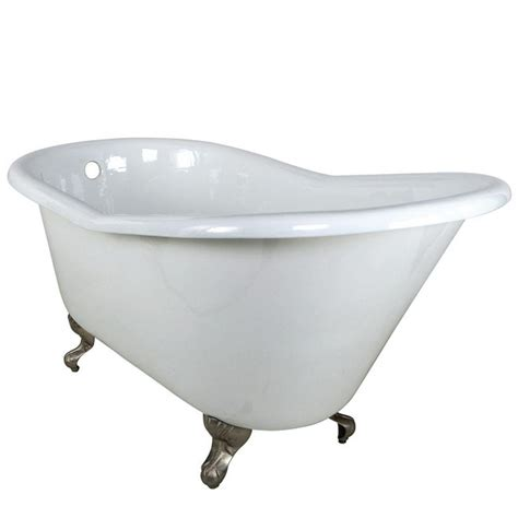 nickel bathtub aqua eden 5 ft cast iron satin nickel claw foot slipper