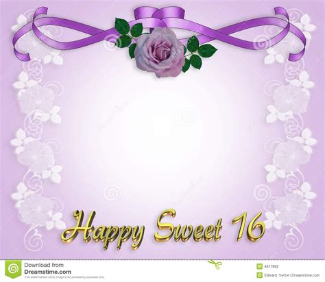 Sweet 16 Birthday Invitation Card Stock Illustration Illustration Of Flower Illustration 4617892 Quinceanera Powerpoint Template