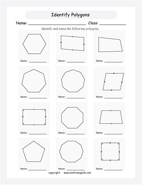 Classifying Polygons Worksheet by Identifying Polygons Worksheet Worksheets Tutsstar
