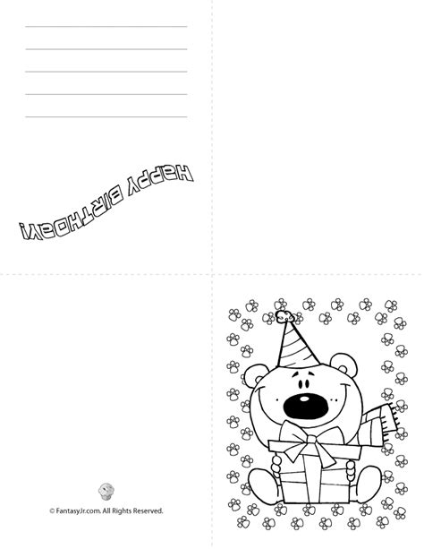 printable birthday cards to color printable kids birthday cards quad fold bear woo jr