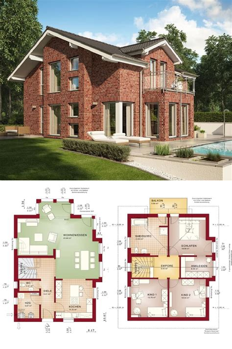 Fertighaus Grundrisse Einfamilienhaus by Haus Mit Pool Und Roter Klinker Fassade Fertighaus