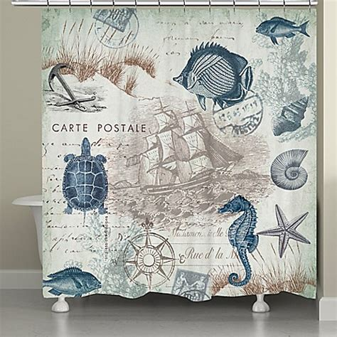 seaside shower curtain laural home 174 seaside postcard shower curtain bed bath