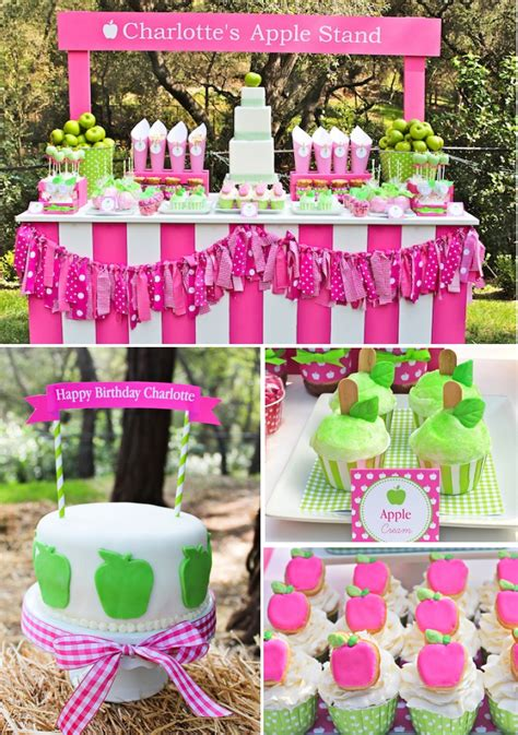 party themes cool kara s party ideas apple of my eye girl pink green fruit