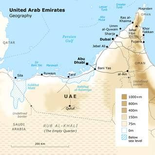 geographical map of uae geography of united arab emirates