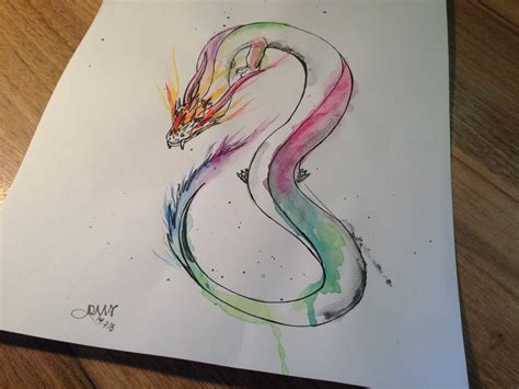 watercolor dragon by arafelshadow on deviantart