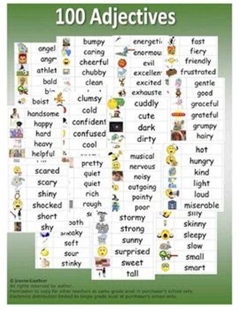 4 Letter Words Adjectives style esl and ranges on