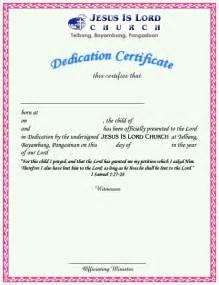 dedication certificate template sle of dedication certificate