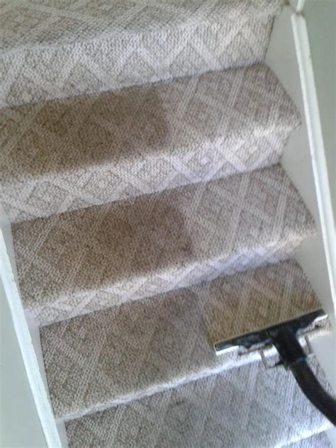 steamer rug these steps were heavily soiled but the customer was happy to see carpet revitalized again