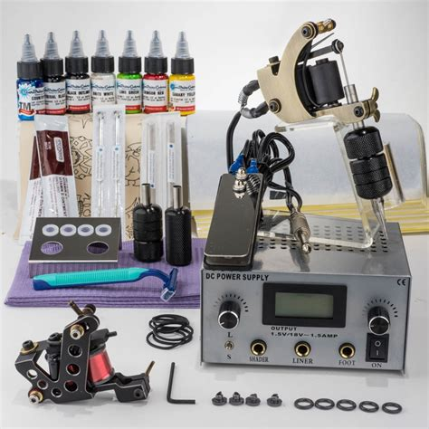 professional 2 x iron machines starbrite tattoo kit carry