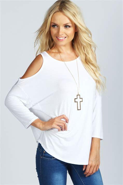 Shoulder Cut Out Shirt cut out shoulder top white white