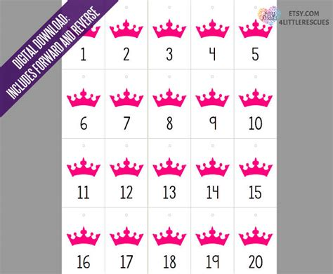 Printable Numbers For Live Sales | pink crown live jewelry sales reverse forward numbers 1