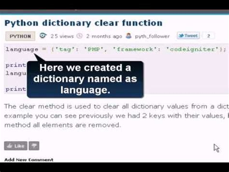 tutorial python dictionary python tutorial python dictionary clear function youtube