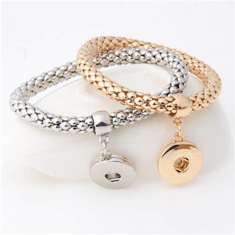 Fashion Ginger Snap Bracelet Elastic Snake Chain Bracelet Bangles Fit 18mm Snap Buttons Women