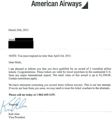 Letter For Giveaways American Airways Free Ticket Giveaway Scam