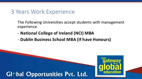 Mba In Usa Without Gmat And Work Experience by Mba Without Gmat In Ireland