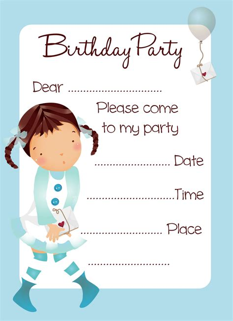 printable birthday invitation cards with photo free balloon girl birthday party invitation printable