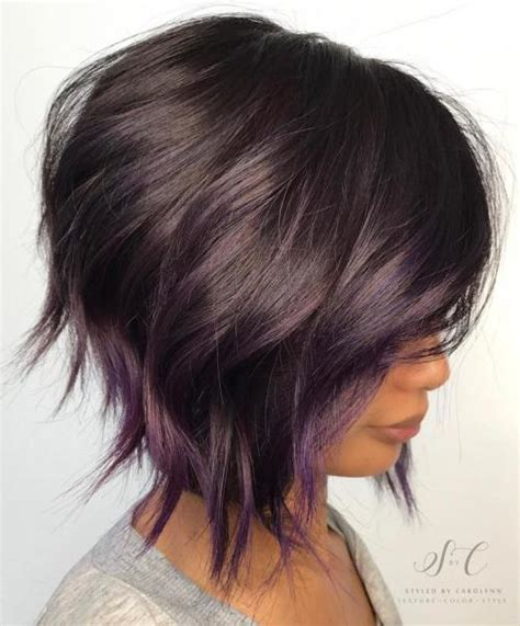 black stacked bob with purple balayage 20 purple balayage ideas from subtle to vibrant