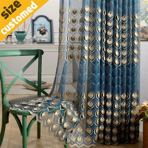 peacock blue sheer curtains aliexpress com buy 3d peacock feather volie curtain 100