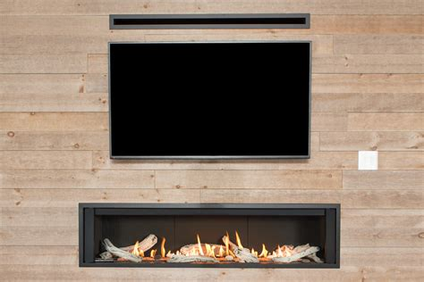 linear fireplace with tv above valor l3 linear series