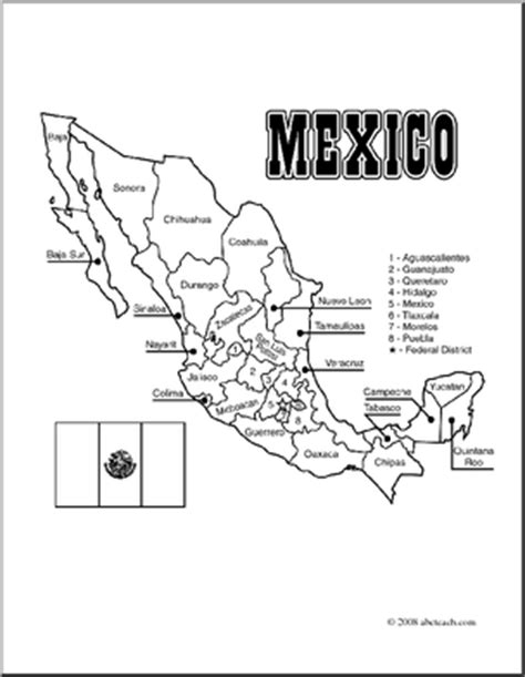 coloring page mexico map clip art mexico map coloring page labeled abcteach